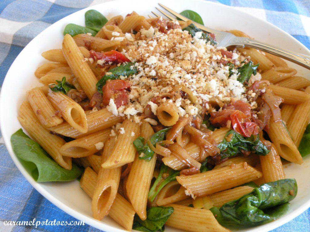 ... Potatoes » Bacon, Lettuce, and Tomato Pasta with Garlic Bread Crumbs