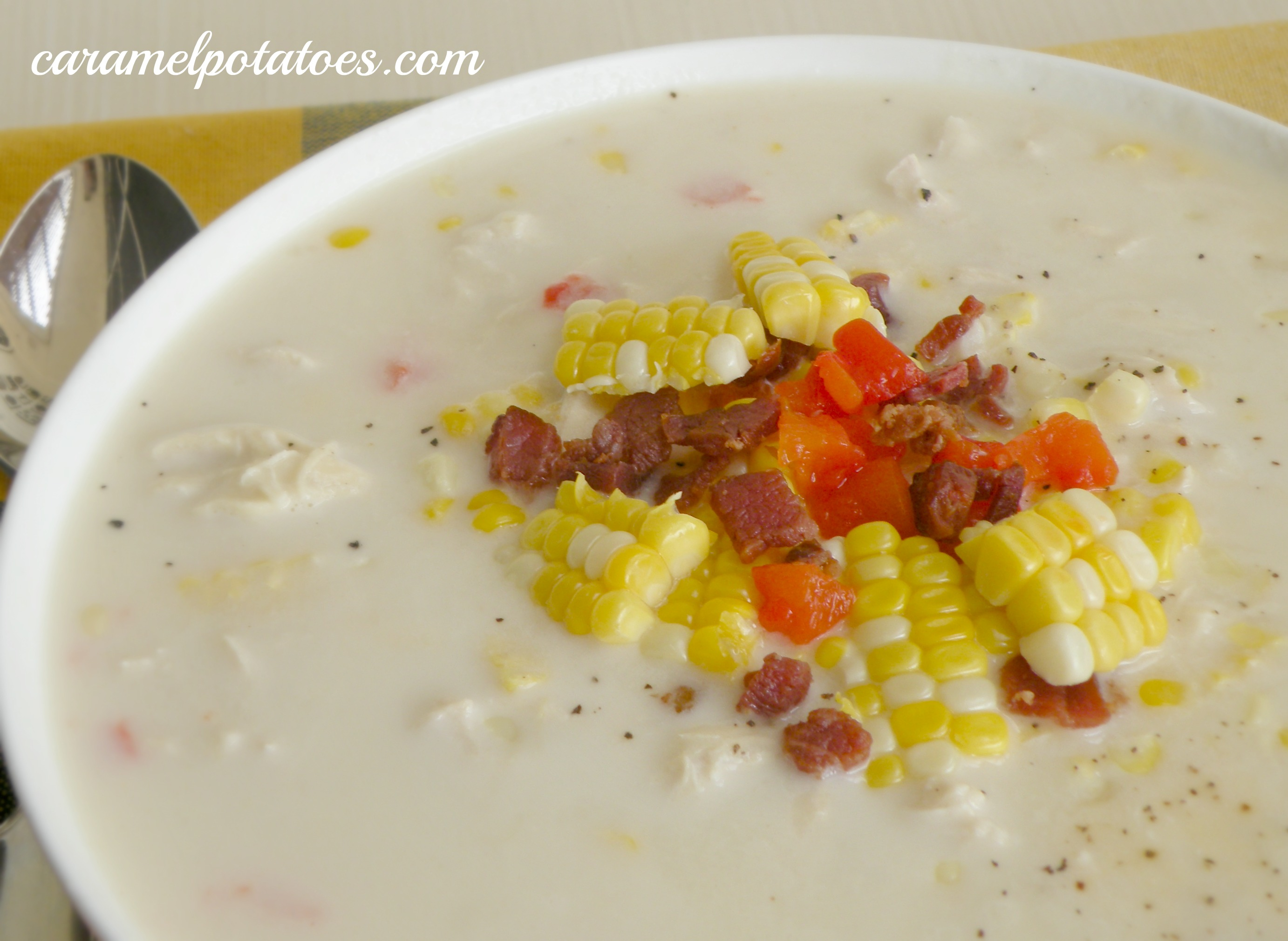 ... Potatoes » Fresh Corn Chowder with Chicken and Roasted Red Pepper