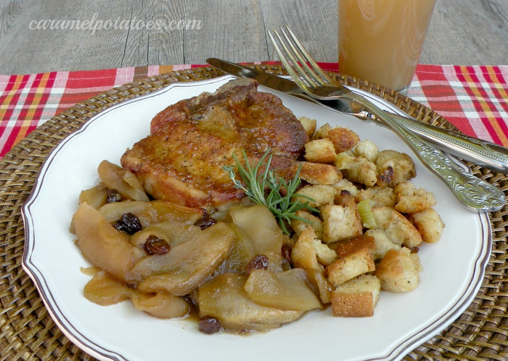 Caramel Potatoes » Cider Pork Chops with Baked Apples