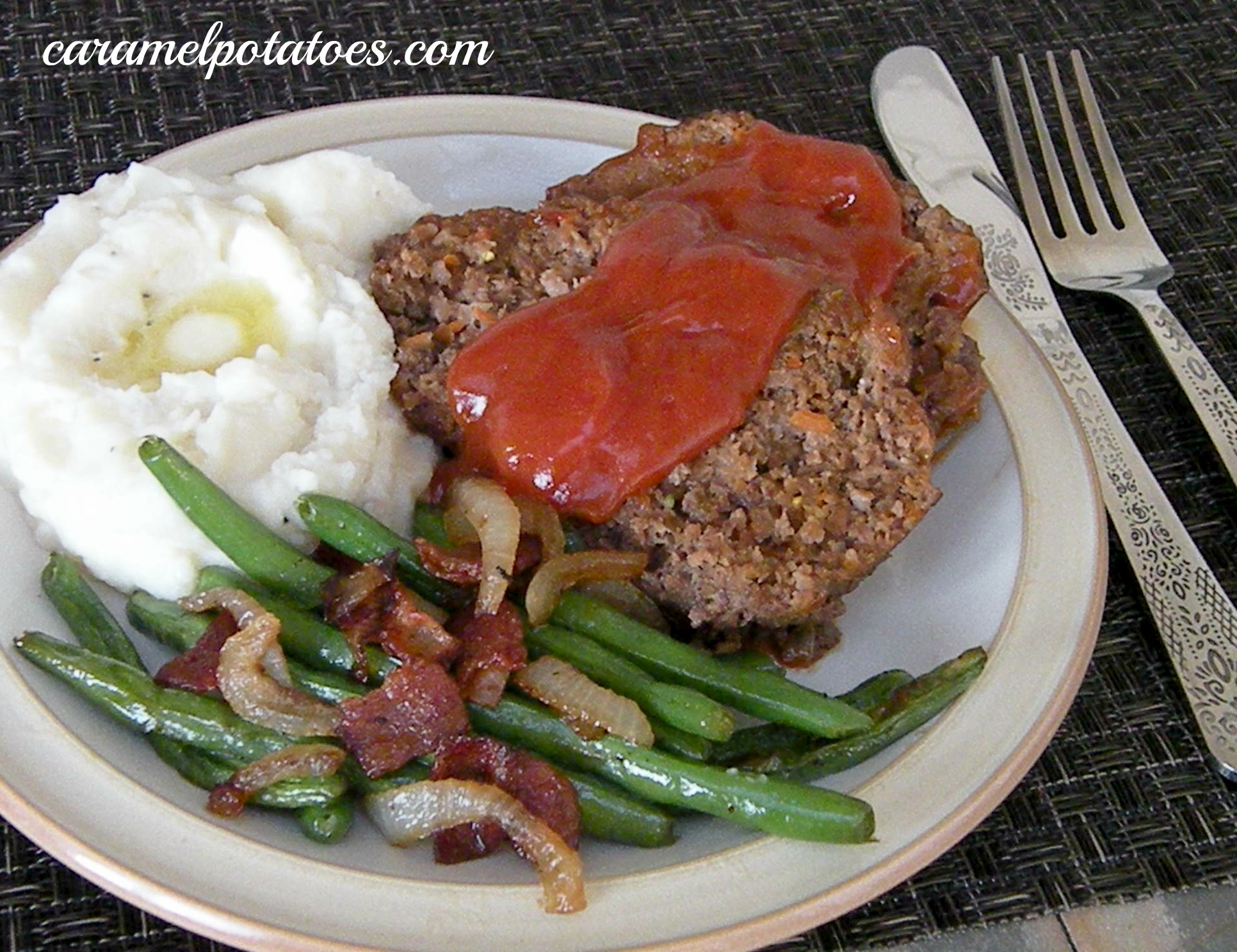 Caramel Potatoes » Meatloaf with Brown Sugar Ketchup Sauce