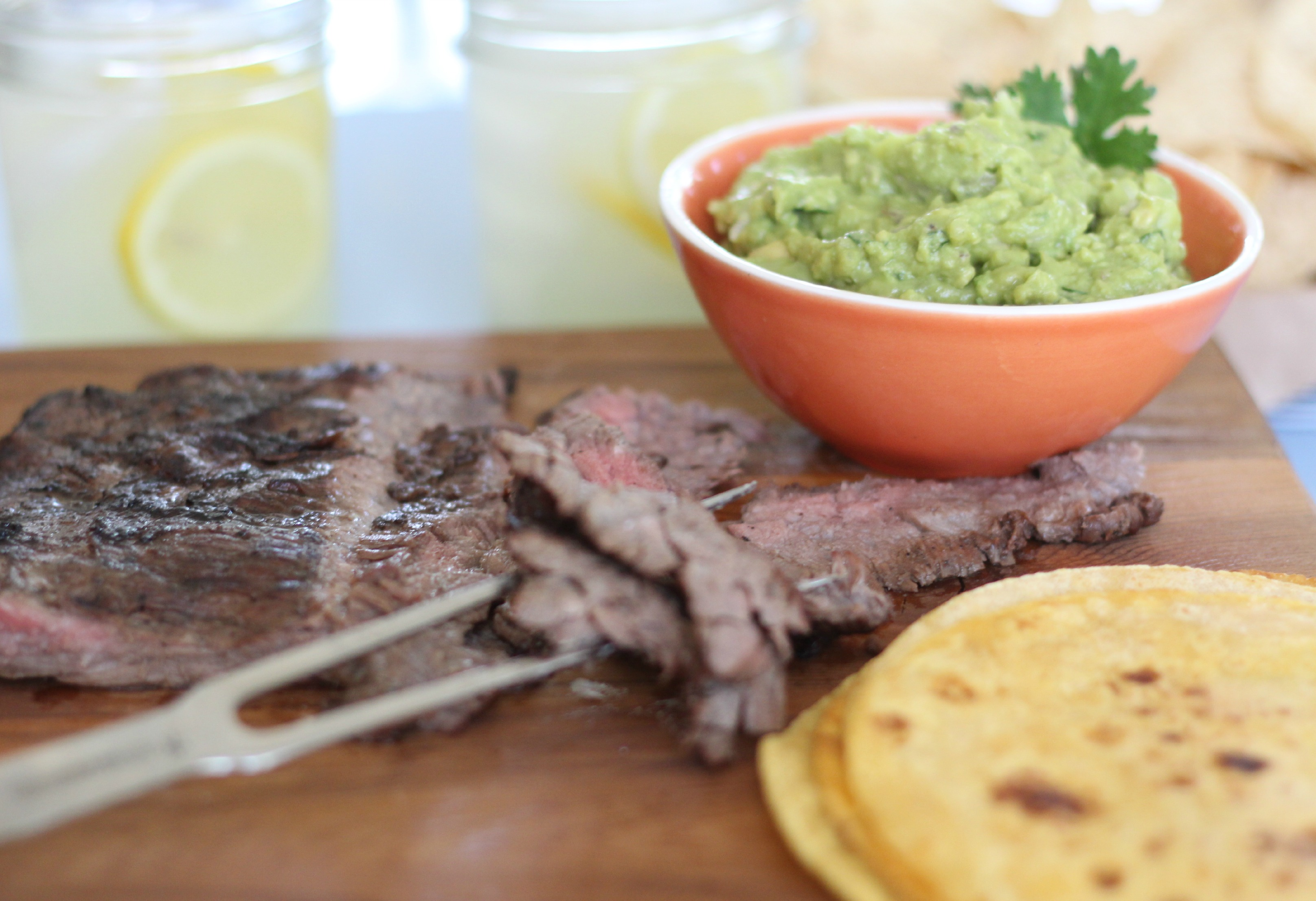 ... Potatoes » Grilled Skirt Steak Tacos with Spicy Red Onion Guacamole