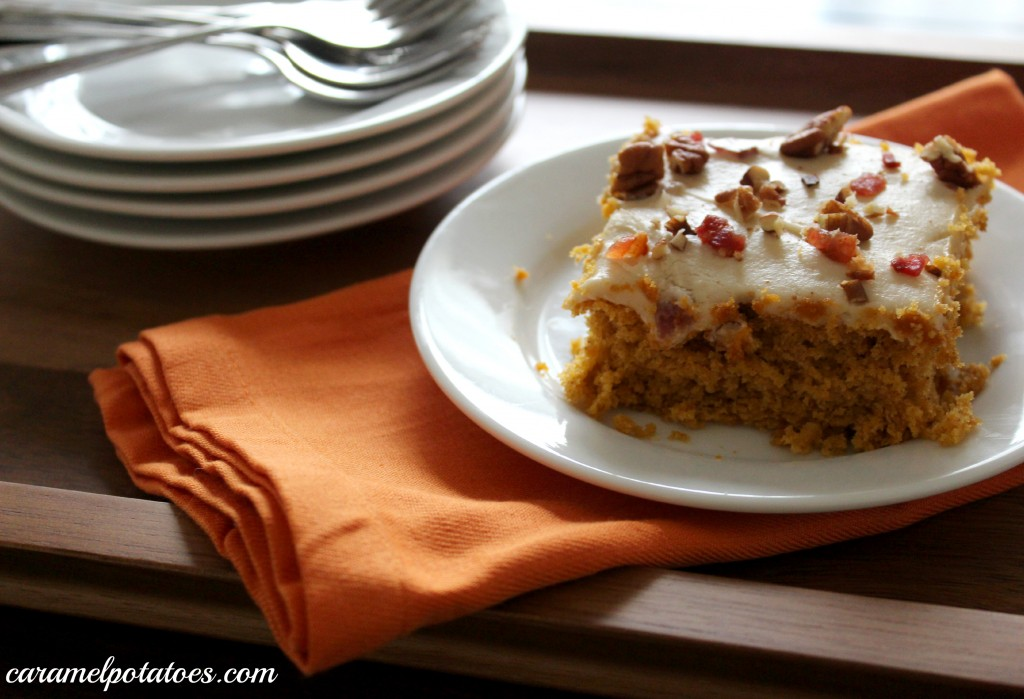 ... Potatoes » Sweet Potato Sheet Cake with Bacon Cream Cheese Frosting