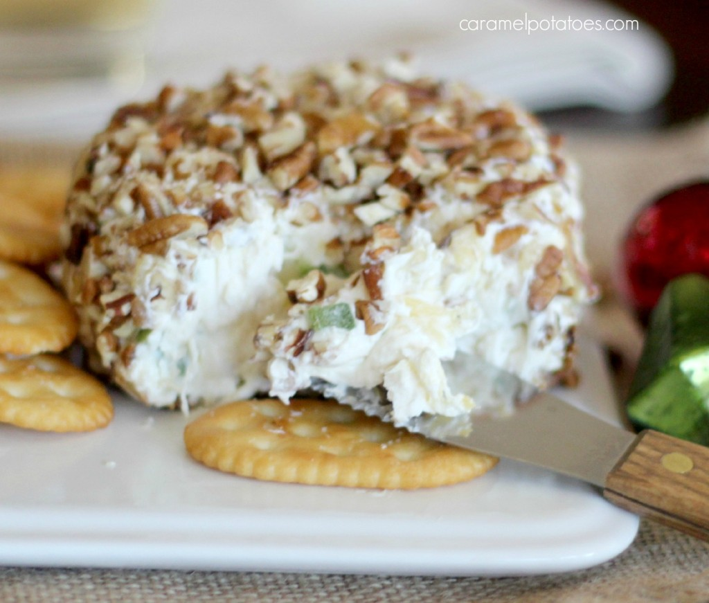 pineapple cheese ball close up
