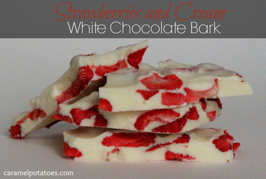 strawberries and cream white chocolate bark