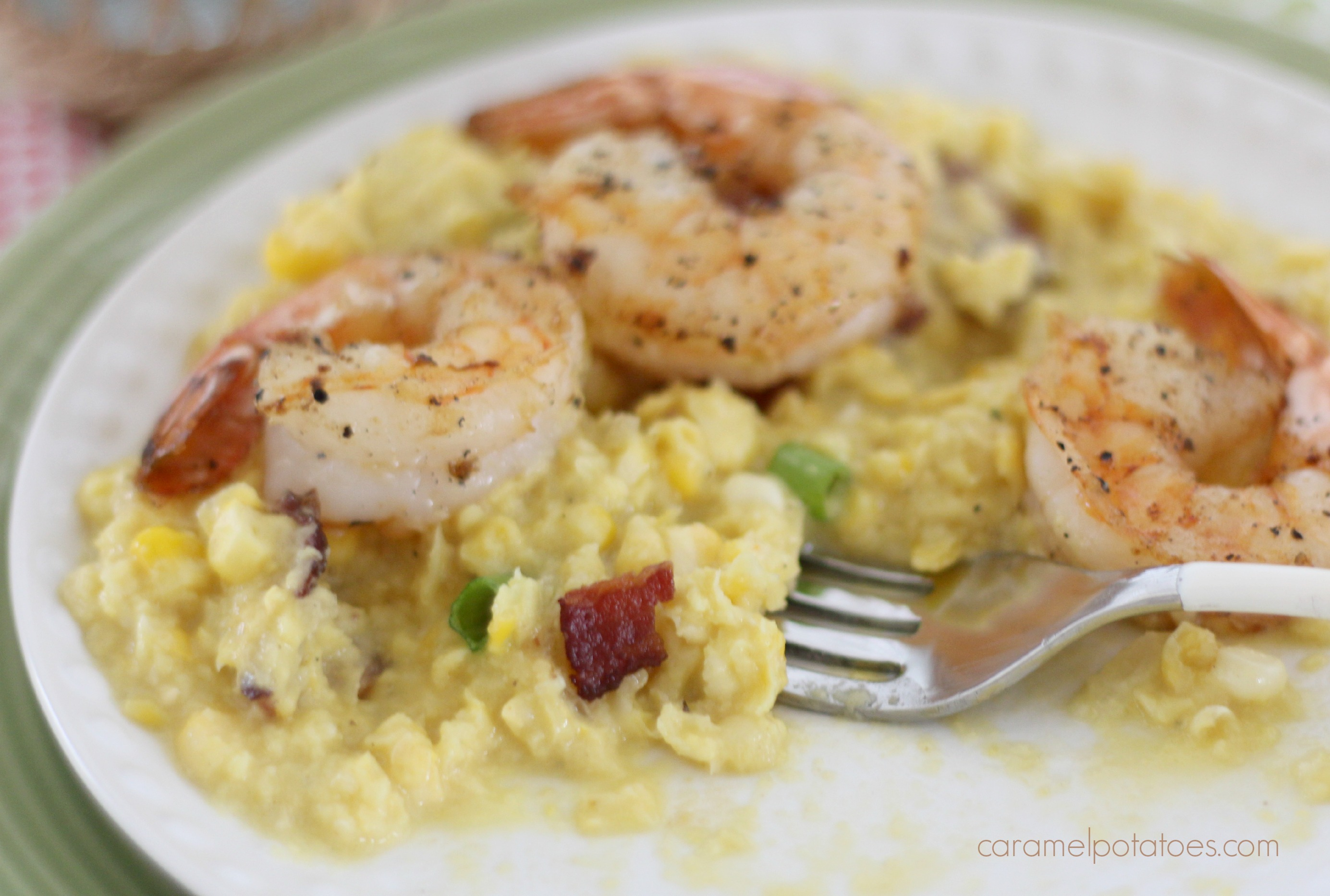 Caramel Potatoes » Fresh Corn Grits with Bacon and Shrimp
